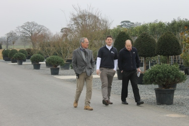 Angus White, Guy Watts and Tom Hart Dyke viewing the stock.